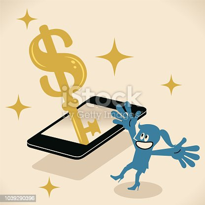 istock Businesswoman with a mobile phone and a big gold dollar shaped key 1039290396