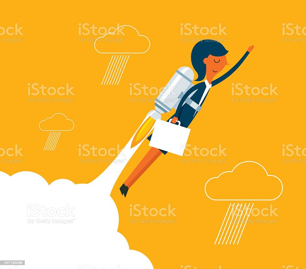 Businesswoman with a rocket rising vector art illustration