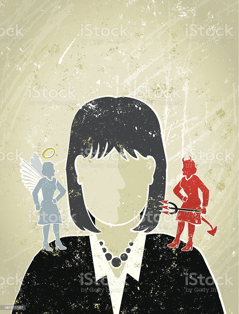 Businesswoman with Angel and Devil on Her Shoulders vector art illustration