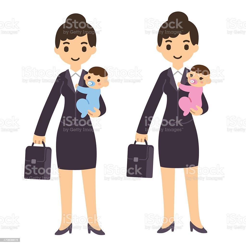 Femme d'affaires avec bébé - Illustration vectorielle