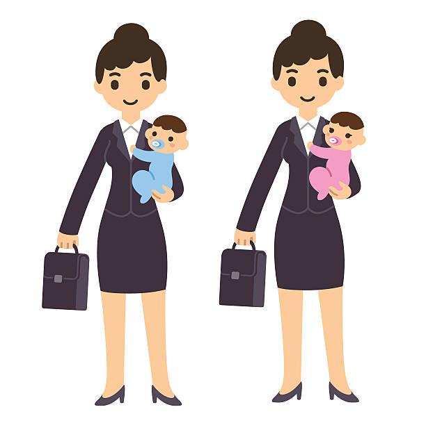 illustrations, cliparts, dessins animés et icônes de femme d'affaires avec bébé - femmes actives