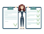 businesswoman with checklist. happy young woman . Stock vector illustration