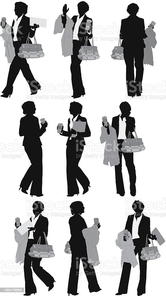 Businesswoman with coffee cup and overcoat royalty-free stock vector art