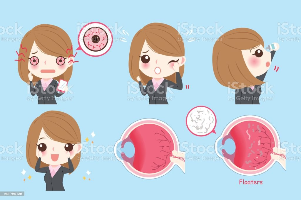 businesswoman with eye problem vector art illustration