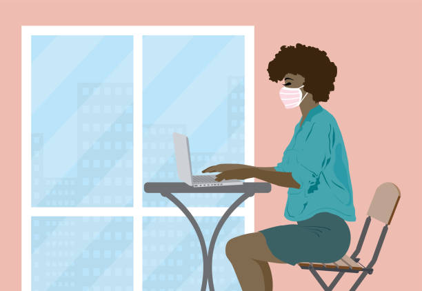 businesswoman with face protection mask - entrepreneurship stock illustrations