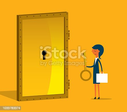 Businesswoman with golden key try to unlock the door. Concept of business risk and success
