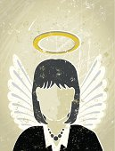 Businesswoman with Halo and Wings, Guardian Angel