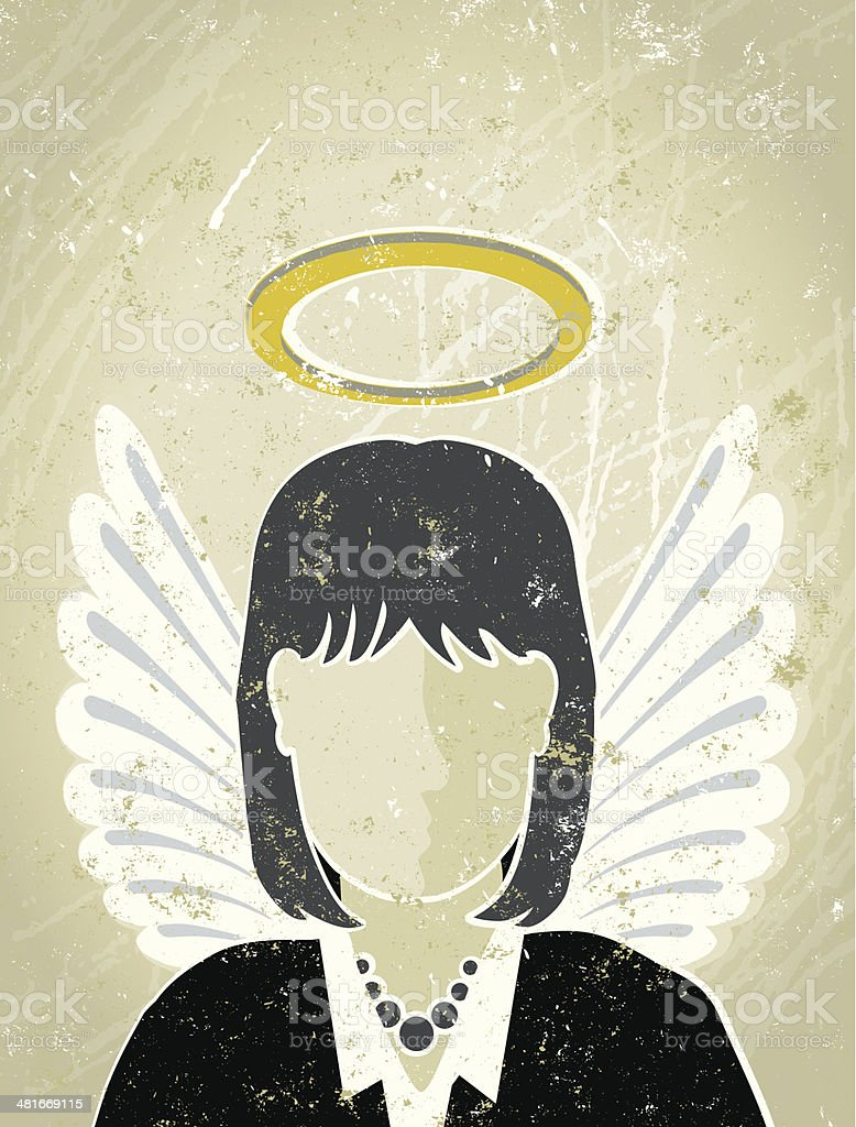 Businesswoman with Halo and Wings, Guardian Angel vector art illustration