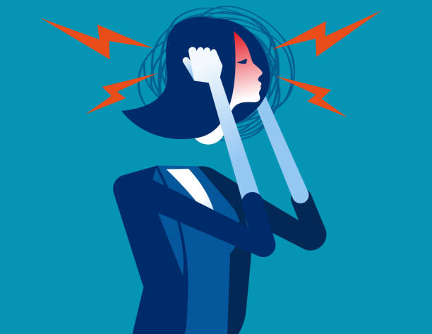 Businesswoman with headache. Concept business vector, Anger, Pressure. Businesswoman with headache. Concept business vector, Anger, Pressure. headache stock illustrations