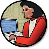 Businesswoman with laptop. JPEG is XXL.