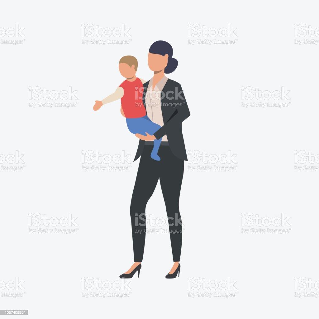 Femme d'affaires avec petit enfant - Illustration vectorielle