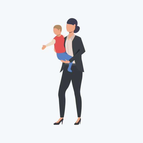 illustrations, cliparts, dessins animés et icônes de femme d'affaires avec petit enfant - femmes actives