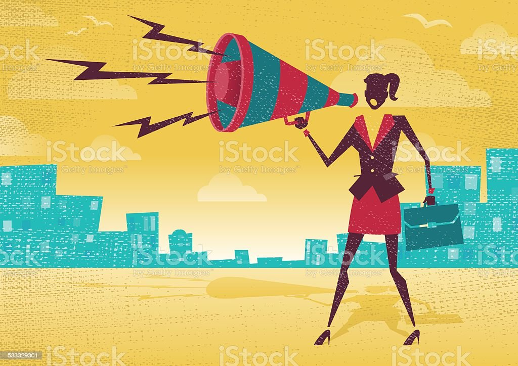 Businesswoman with Megaphone. royalty-free businesswoman with megaphone stock illustration - download image now