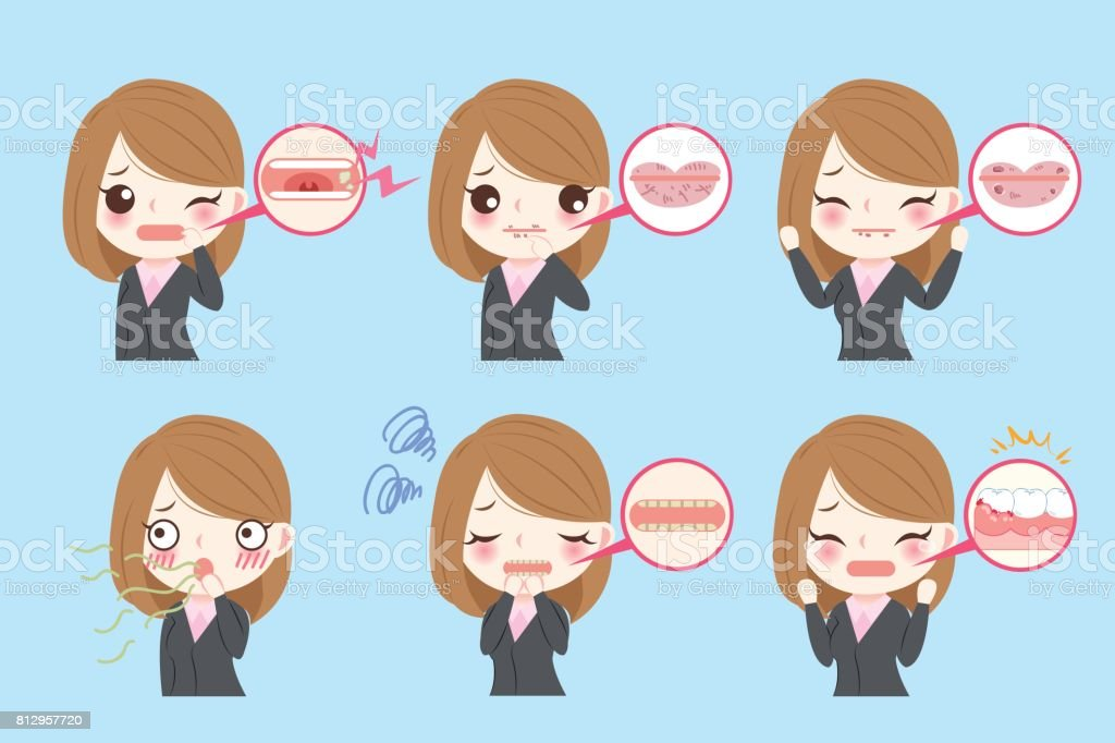 businesswoman with oral problems vector art illustration