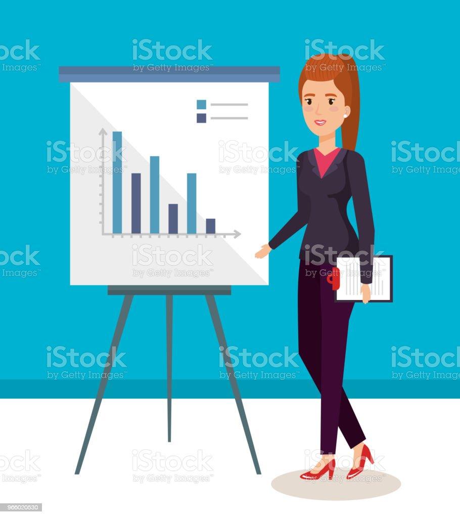 affärskvinna med papp utbildning avatar tecken - Royaltyfri Allegorisk målning vektorgrafik