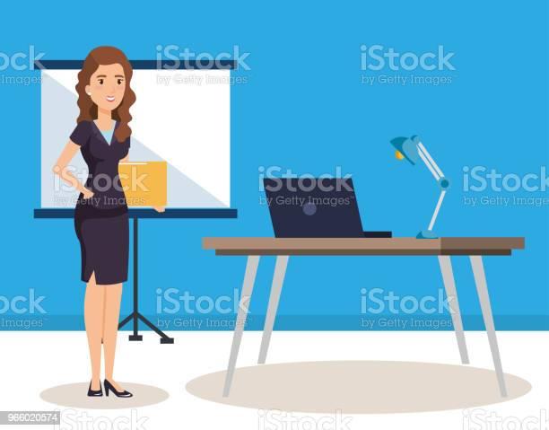 Geschäftsfrau Mit Pappe Training Avatar Charakter Stock Vektor Art und mehr Bilder von Akte