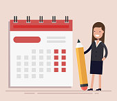 Businesswoman with pen and calendar. Planning and Scheduling Concept. Business Operations. Flat vector illustraion isolated.