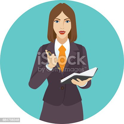 istock Businesswoman with pen and pocketbook 684758348