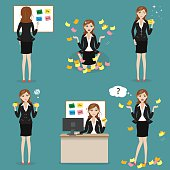 businesswoman with post it