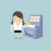 Businesswoman with slot machine.
