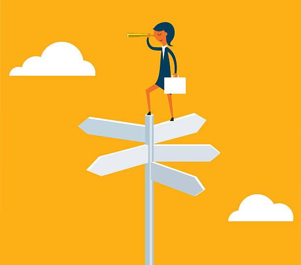 Geschäftsfrau mit einem spyglass auf einer Kreuzung - – Vektorgrafik