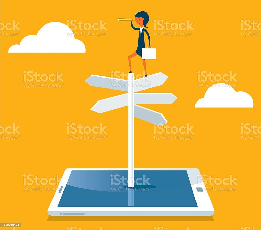Businesswoman with spyglass on a crossroad sign vector art illustration