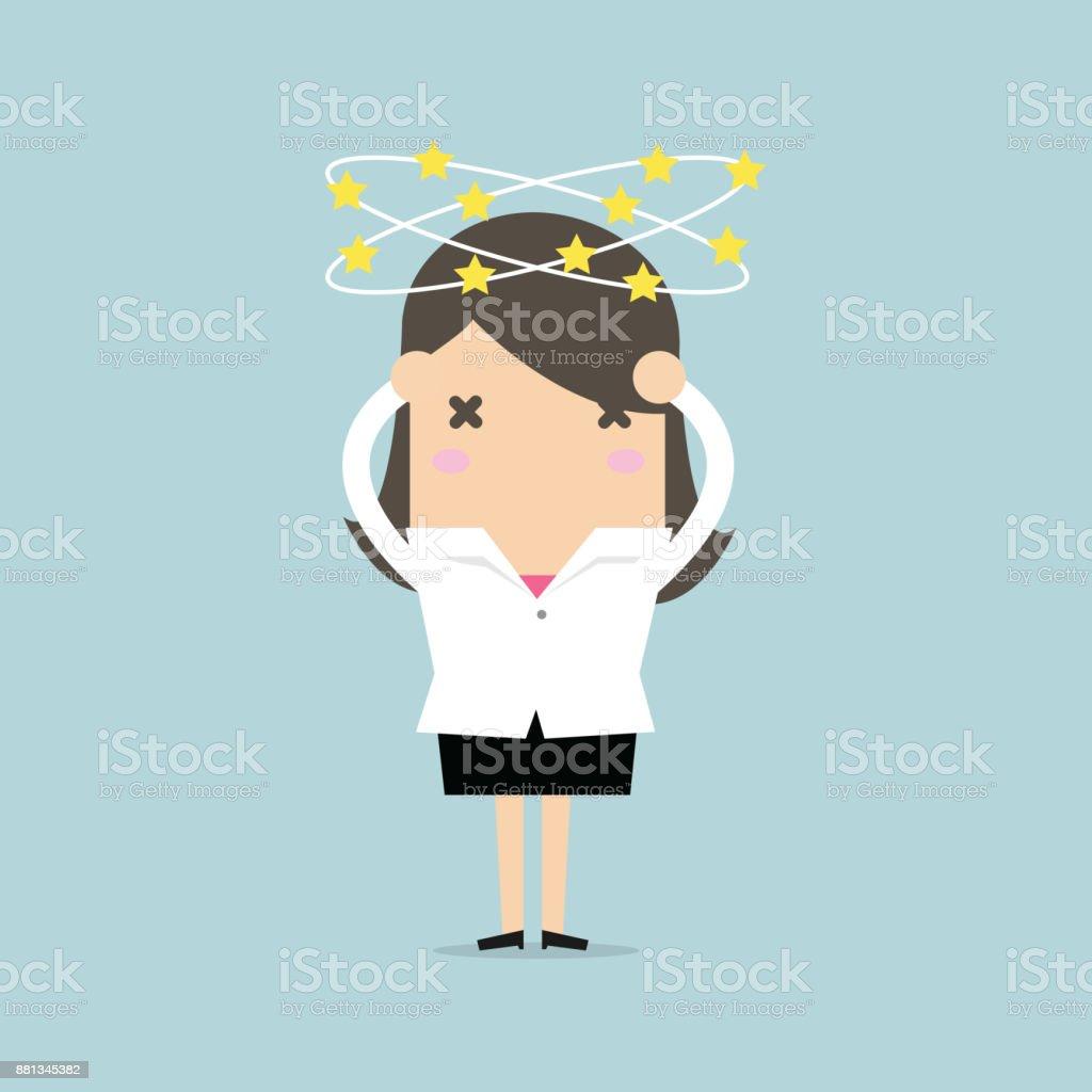 Businesswoman with stars spinning around his head. vector vector art illustration