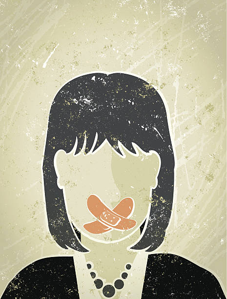 businesswoman with sticking plaster over her mouth - domestic violence stock illustrations