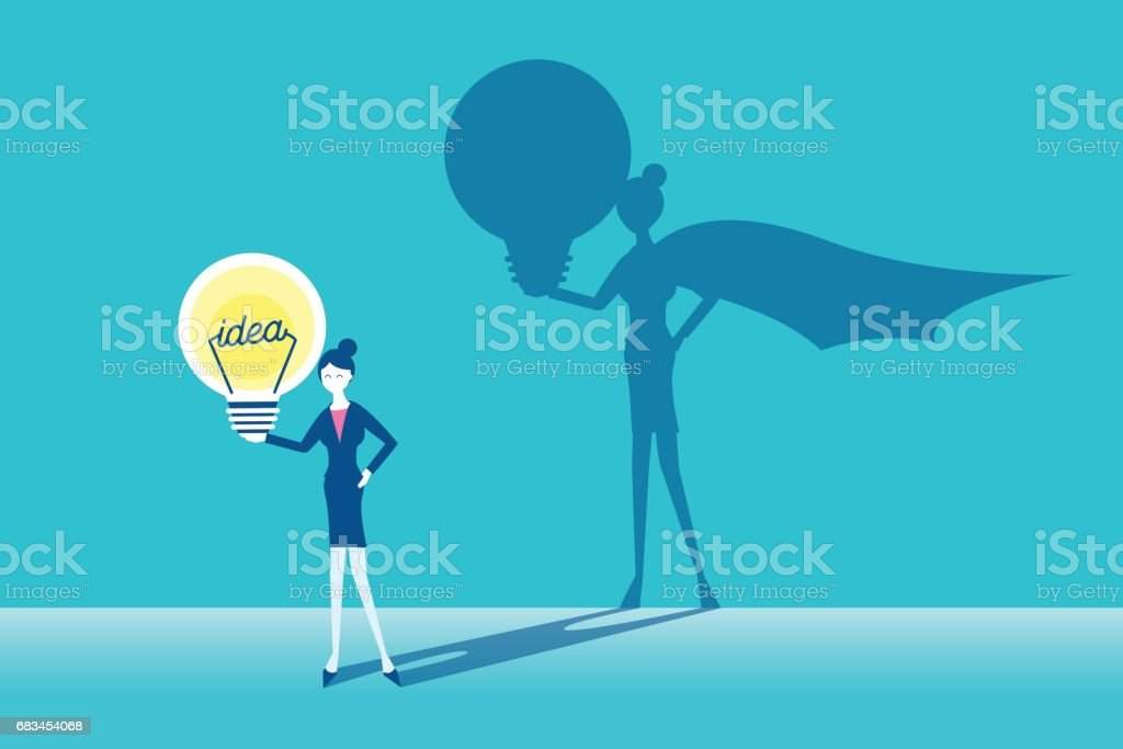 businesswoman with super concept vector art illustration
