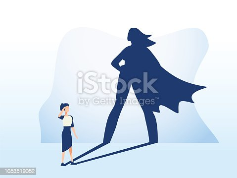 Businesswoman with superhero shadow. Business symbol of emancipation ambition, success and motivation of leadership, courage and challenge. Eps10 vector illustration. Feminism and equal rights