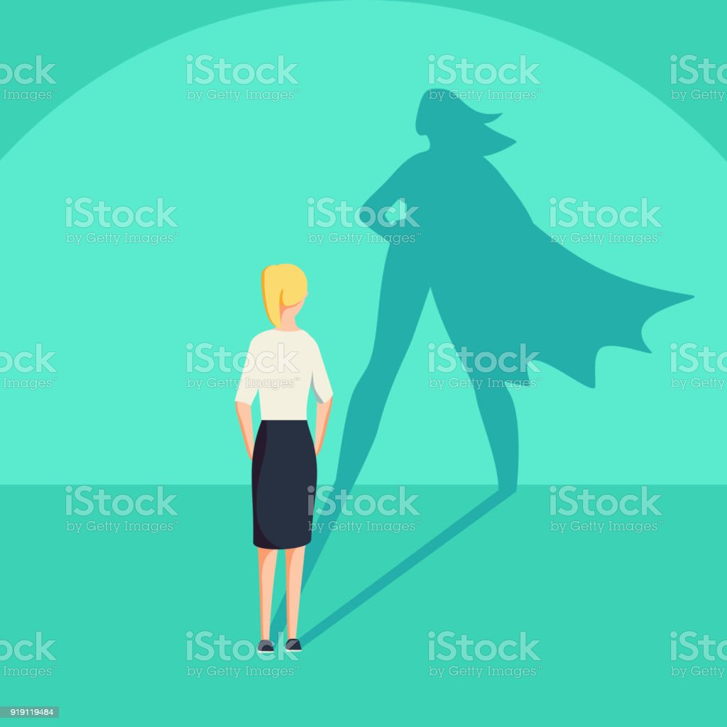 Businesswoman with superhero shadow vector concept. Business symbol of emancipation ambition and success motivation. vector art illustration