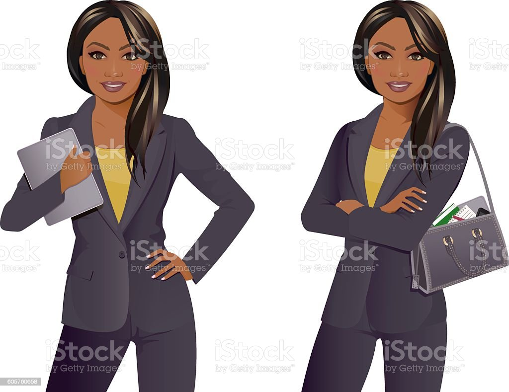 Businesswoman with tablet and arms folded with bag vector art illustration