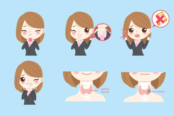 ilustraciones, imágenes clip art, dibujos animados e iconos de stock de empresaria con cáncer de tiroides - thyroxine