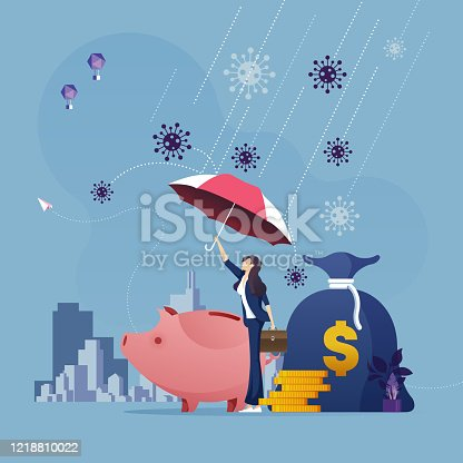 Businesswoman with umbrella protecting money from corona virus attack-Business financial crisis concept