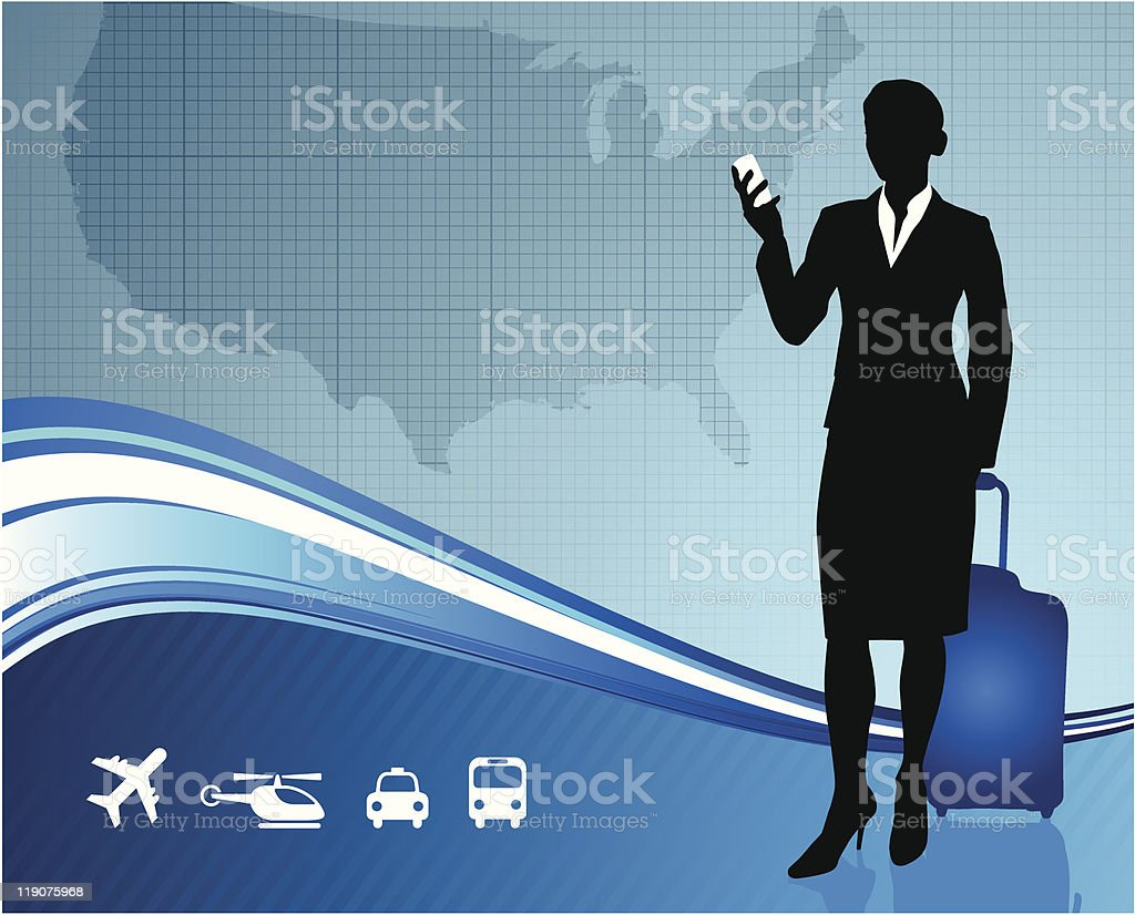 Businesswoman with United States Map royalty-free stock vector art