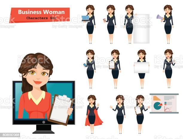 Businesswoman with various things set of cute cartoon character on vector id808592068?b=1&k=6&m=808592068&s=612x612&h=xapfehum0l5c6ds7l2df dyjy1ztodazt1dqwdeseco=