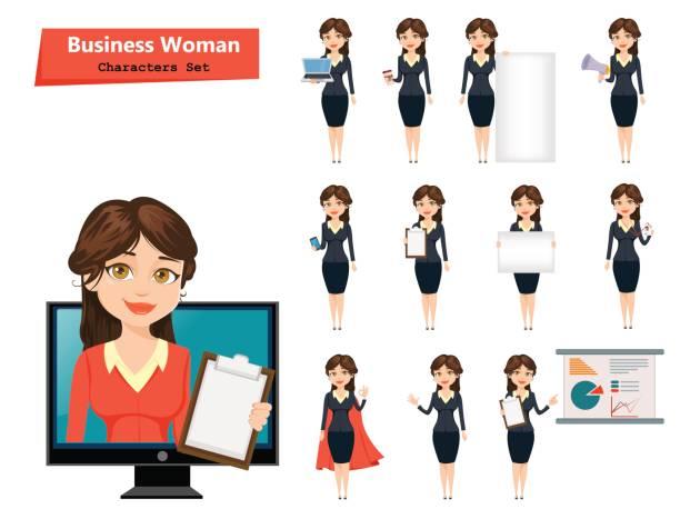 Femme d'affaires avec diverses choses. Jeu de personnage de dessin animé mignon. Illustration vectorielle isolée sur fond blanc - Illustration vectorielle