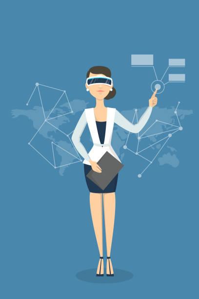 ilustrações de stock, clip art, desenhos animados e ícones de businesswoman with vr . - business woman hologram