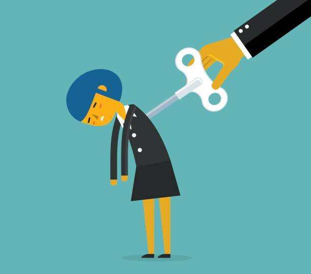 Businesswoman with wind-up key Tired businesswoman with wind-up key has run out of power tired woman stock illustrations
