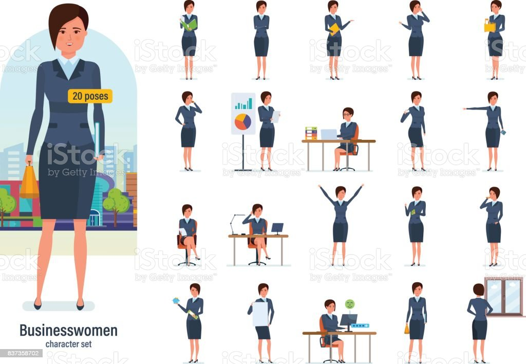 Businesswoman worker in formal wear. Different poses, emotions, gestures vector art illustration