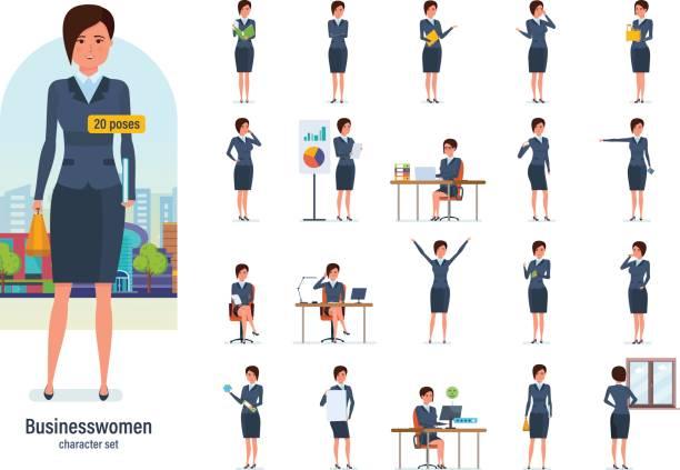 ilustraciones, imágenes clip art, dibujos animados e iconos de stock de trabajador de empresaria en ropa formal. diferentes poses, emociones, gestos - ejecutiva