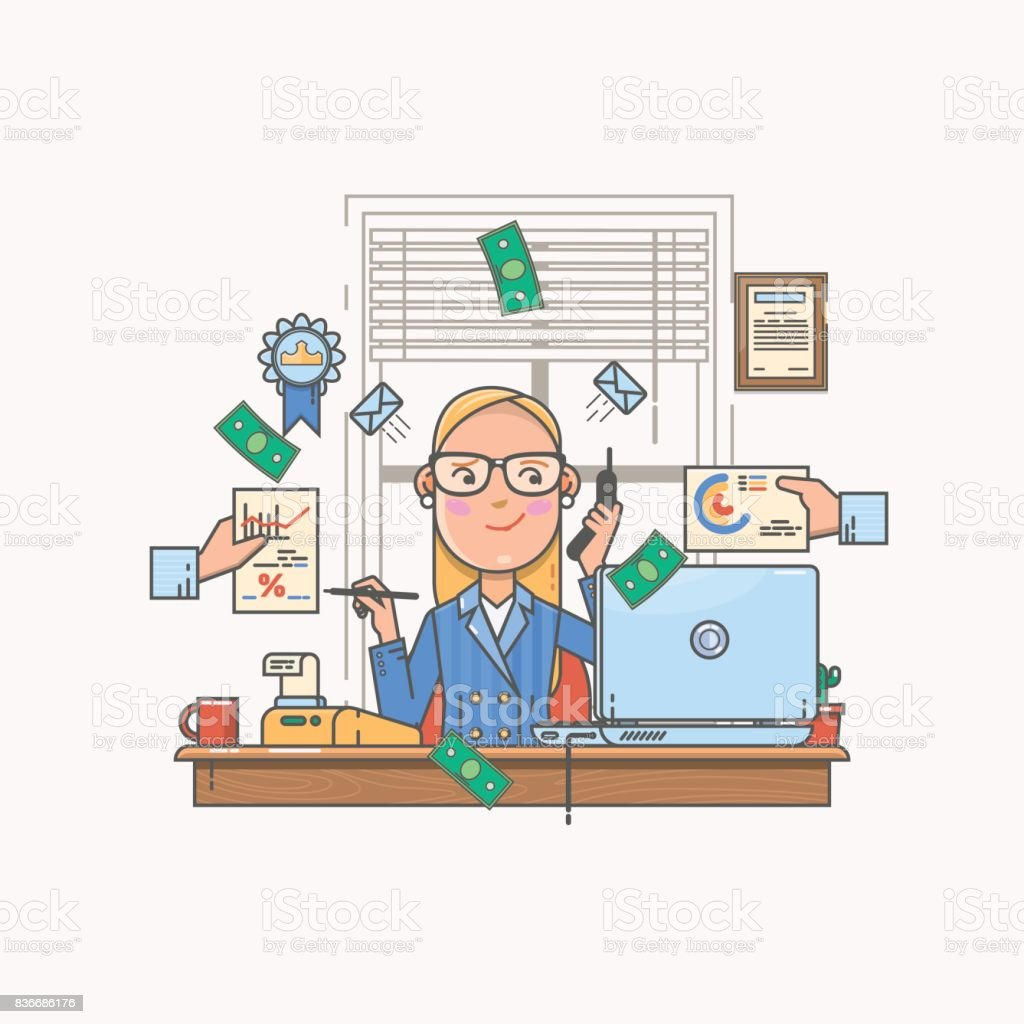 Businesswoman working and analyzing financial statistics. Data analysis concept. Vector illustration of color icon in flat line style. vector art illustration