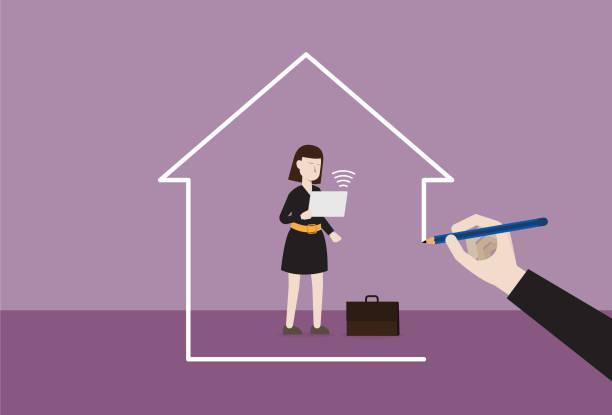 illustrazioni stock, clip art, cartoni animati e icone di tendenza di businesswoman working at home - new normal