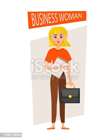 Businesswoman working character design set. The girl holds a briefcase and a folder. Vector illustration