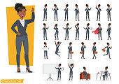 istock Businesswoman working character design set. Vector design. 1092459694