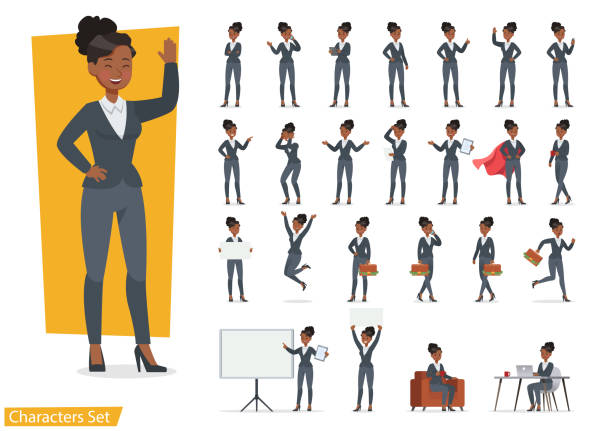 ilustrações de stock, clip art, desenhos animados e ícones de businesswoman working character design set. vector design. - business woman