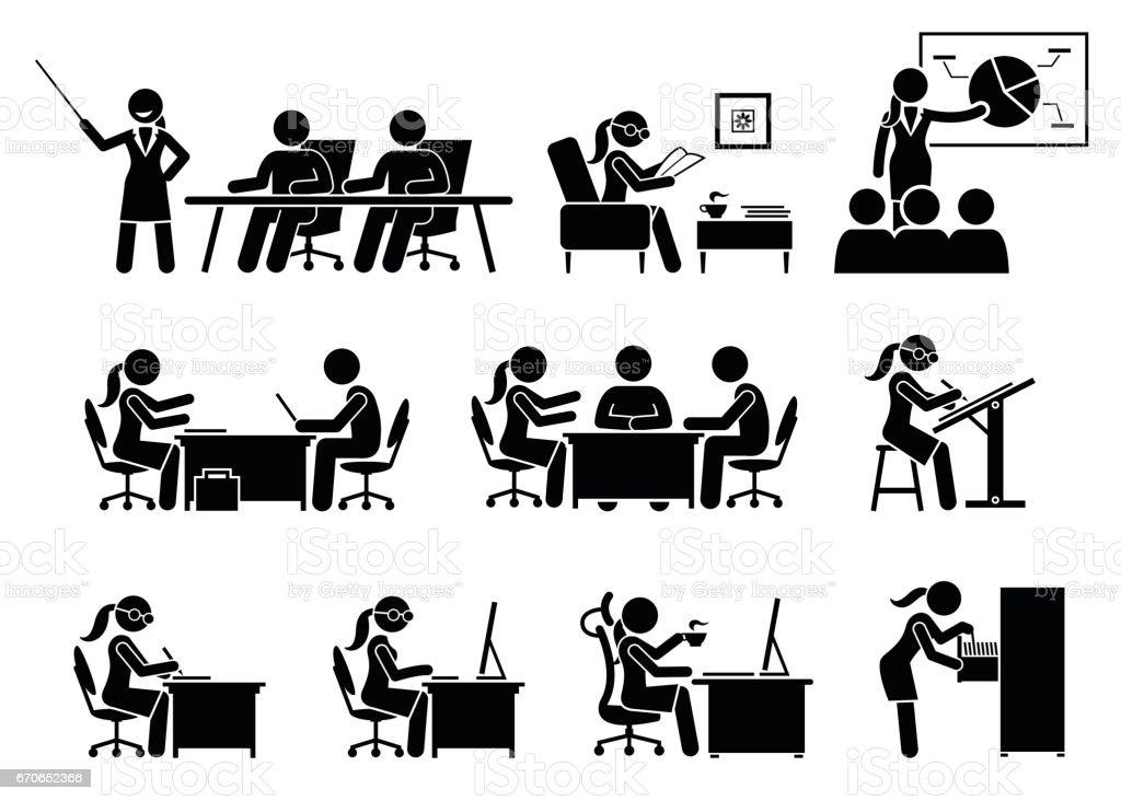 Femme d'affaires travaillant dans un bureau. - Illustration vectorielle