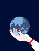 A stylized vector cartoon reminiscent of an old screen print poster of a businessman's hand holding a World Globe showing the continents of Asia, China, Russia and Australia. Suggesting Global travel,map, navigation, cartography or environmental issues. Globe, hand, shadow and background are on different layers for easy editing. Please note: this is an eps 10 illustration and clipping masks have been used.