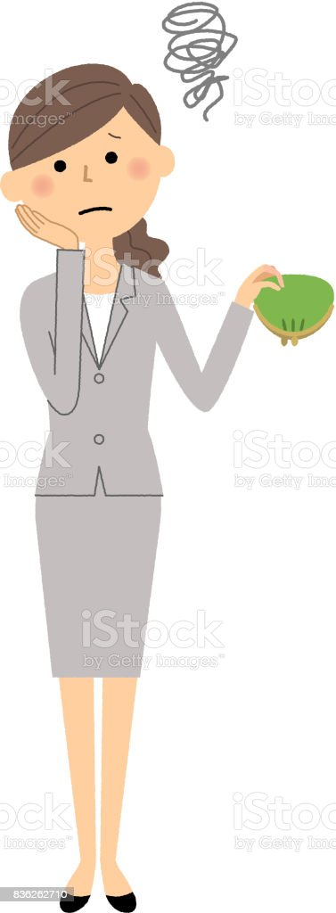 Businesswoman,I'm broke vector art illustration