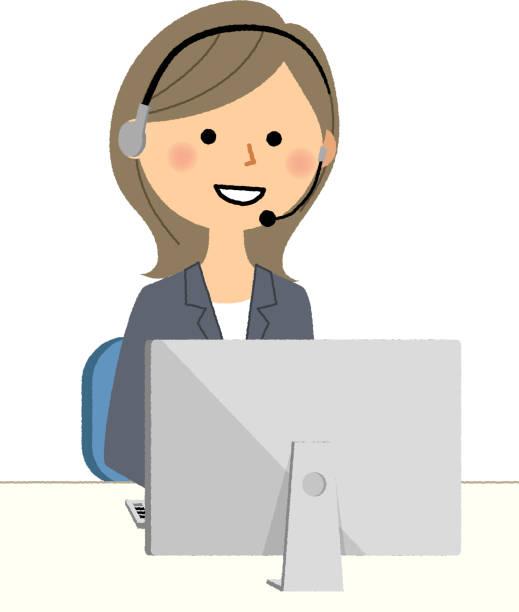 実業家、パソコンで手無料ヘッドセット - コールセンター点のイラスト素材/クリップアート素材/マンガ素材/アイコン素材